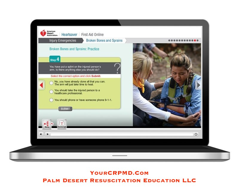 Heartsaver First Aid Online - YourCPRMD.com Palm Desert Resuscitation Education LLC (PDRE) 760-832-4277
